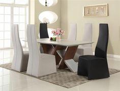 Ruby Black White Grey Walnut Wood Glass PU 7pc Dining Room Set CHF-RUBY-DR-S1