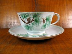 Vintage 1940s Cup and Matching Saucer Pine Cone Pattern Craftsman China Hakone Fine Porcelain from Japan