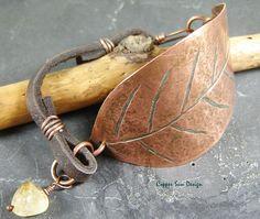 Boho Etched Leaf Cuff bracelet Patina copper by CopperSunDesign, $62.00