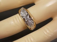 1940s Yellow Gold Diamond Wedding Band with by estatejewelryshop, $250.00