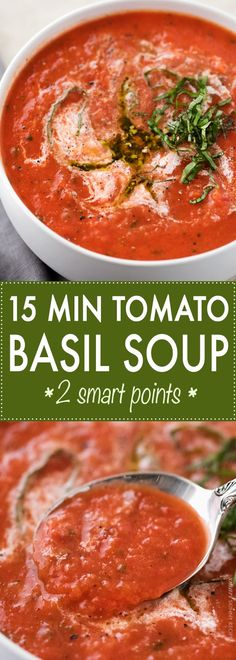 This tomato basil soup takes only 15 minutes to make, yet is positively bursting. This tomato basil soup takes only 15 minutes to make, yet is positively bursting with flavors you& expect from a soup that& been simmering all day! Chili Recipes, Lunch Recipes, Soup Recipes, Cooking Recipes, Healthy Recipes, Easter Recipes, Recipes Dinner, Healthy Soups, Dinner Healthy