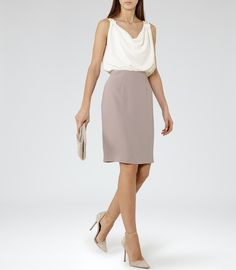 Womens Off White/orchid Block-colour Dress - Reiss Autumn