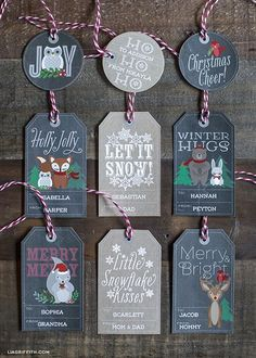 Free printables: Woodland Christmas Labels and Tags in chalkboard and kraft (with coordinating printable wrapping paper on her blog)