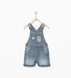 Image 1 of Denim dungarees from Zara Baby Boys, Kids Boys, Denim Dungaree Shorts, Summer Boy, Summer 2016, Zara New, Boys Wear, Zara Kids, Kid Styles