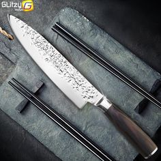 8 inch Professional Japanese Chef Knife, High Carbon Stainless, Santoku Knife, Pakka Wood