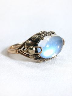 Images of Arts & Crafts Lightning Moonstone Ring - The Three Graces