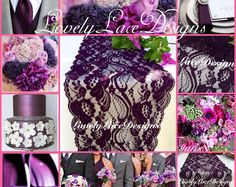 "PLUM WEDDINGS/Plum Lace Table Runner/3ft-10ft x 7"" Wide/Wedding Decor/ Overlay/Tabletop Decor/Reception Decoration/Ends not sewn/Free Runner"