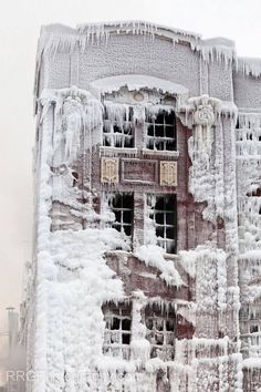 A house in Chicago 1970's  snow & ice blizzard.