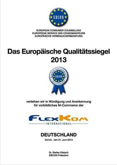 Flexkom have received a European Consumer Counselling Certificate which approves their business and products and gives consumers confidence.