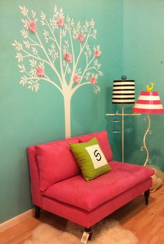 Cute for a little girls room! Tiffany Blue Aqua And Pink Girls Bedroom Design Ideas, Pictures, Remodel, and Decor Hot Pink Bedrooms, Pink Bedroom For Girls, Teen Bedroom, Bedroom Decor, Bedroom Ideas, Blue Bedroom, Small Couch In Bedroom, Bedroom Ceiling, Teenage Girl Bedroom Designs