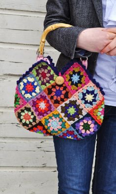 crochet 'granny square' bag by dutchsisters on Etsy