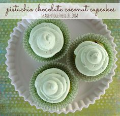 Soft tender pistachio cupcakes are filled with chocolate chips and coconut for a taste explosion! These green treats are great for St. Patrick's Day, too! Chocolate Coconut Cupcakes, Pistachio Cupcakes, Pistachio Pudding, Mini Chocolate Chips, Green Cupcakes, Heart Cupcakes, Pistachio Recipes, Valentine Cupcakes, Valentine Treats