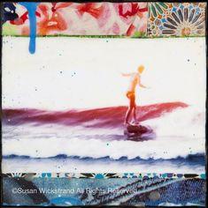 """New """"BELINDA BLUE"""" (Belinda Baggs) Orig. Oil, Ink & Encaustic Collage by Artist Susan Wickstrand Surf Art"""