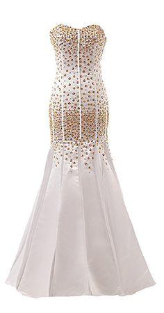 Gold Beaded Satin Long Mermaid Prom Dresses Real