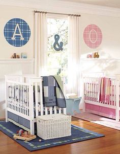 Twin nursery in a smaller room Cute And chevron curtains Note