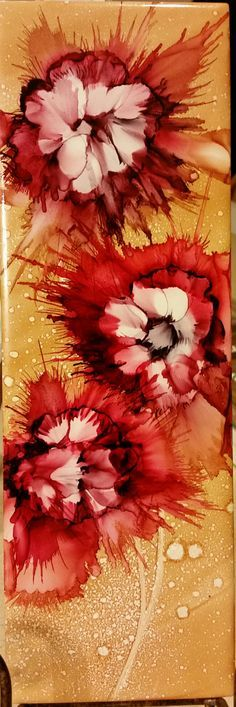 Blown flowers in alcohol ink on 12x4 tile by Tina