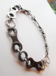 cool Mens Bracelet  Bike Chain and Washers  by RosePedalsJewelry, $19.00...