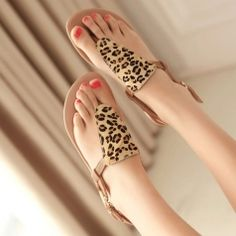 Leopard Flat Heels Buckle Strap Girl's Summer Shoes Sandals