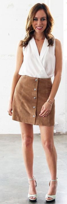 """Suede Button Skirt Styling by Sydne Style  (^.^) Thanks, Pinterest Pinners, for stopping by, viewing, re-pinning, & following my boards. Have a beautiful day! ❁❁❁ and""""Feel free to share on Pinterest ^..^   #fashionupdates  #fashionandclothingblog *•.¸♡¸.•**•.¸"""