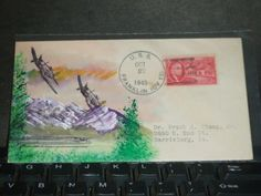 USS FRANKLIN CV-13 Naval Cover 1945 HAND PAINTED MORRISSEY Cachet