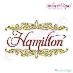 Hamilton Font Frame, Large | What's New | Machine Embroidery Designs | SWAKembroidery.com Embroitique