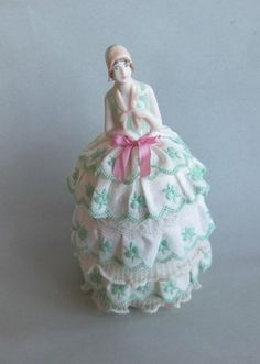 Beautiful Pin Cushion Doll Porcelain reproduced with Vintage Lace | eBay