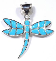 Sleeping Beauty Turquoise Inlay 925 Sterling Silver Dragonfly Pendant Necklace #SilverExpressionsUSA #Dragonfly