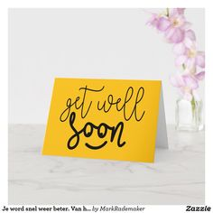 Good Luck Cards, Good Luck To You, Card Tattoo, Get Well Soon, Plant Design, Custom Greeting Cards, Zazzle Invitations, Artwork Design, Yellow Flowers