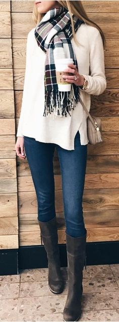 #fall #outfits women's white sweater with blue denim pants, scarf, and black leather boots