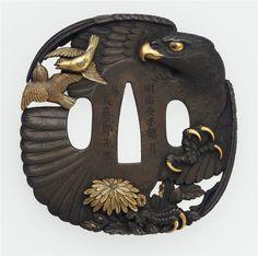 Eagle & Sparrow Tsuba, Unno Moritoshi 1883 - Made of: Shibuichi, gold and shakudo