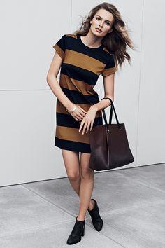 New season, new fashion! | Striped dress and leather handbag #HMFall