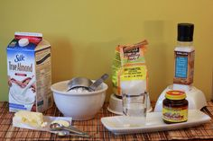 All the ingredients for my sugar free homemade bread:  Yeast Water Salt Erythritol Butter Almond Milk Flour