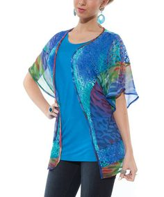 Take a look at this Blue Crochet Dolman Open Cardigan - Women by Lily on #zulily today!