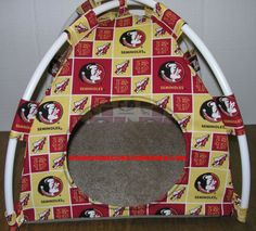 FSU Seminoles Handmade Fabric Pup Tent Pet Bed. Avail @ http://stores.sharonsdecoratedbooks.com/ Beds r made when ordered and payment is received. The average time that it takes for the Bed to ship after payment is usually 5 biz days. The Pet Beds are made of licensed cotton NCAA College material, but are not licensed by the NCAA College. They are handcrafted and resold under rights granted by the 1st sale doctrine. We are not affiliated with The Licensed Company in any way. ***22$ Sm  27$…
