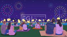 SPAI215, 프리진, 일러스트, 이벤트, 축제, 행사, 여름, 가을, 페스티벌, 단체, 그룹, 사람, 캐릭터, 남자, 여자, 중년, 청년, 공연, 어른, 계절, 파티, 콘서트, 휴가, 포스터, 컬러풀, 개인, 집단, 불꽃놀이, 저녁, 한강, 잔디밭, 키스, 밤풍경, 조명, 화려함, 앉아있는, 하늘, 별, 건물, 호수, 강, 고수부지, 산, 언덕, 보라색, 파란색, 노란색,#유토이미지 Watercolor Illustration, Digital Illustration, Graphic Illustration, Packaging Design, Branding Design, Mid Autumn Festival, Festival Posters, Amusement Park, Banner Design
