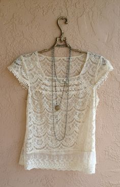 Romantic Lace Blouse with ruffle details Gypsy by BohoAngels, $40.00
