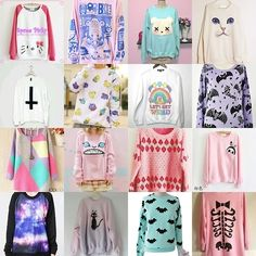 pastel goth sweaters - I want them all! Pastel Punk, Pastel Goth Fashion, Pastel Grunge, Kawaii Fashion, Punk Fashion, Mode Kawaii, Kawaii Goth, Grunge Goth, Nu Goth