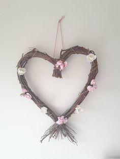 Rustic Wreath, heart wreath, paper rose wreath, wall hanging, door hanger, in door decoration, romantic shabby, natural decor by ClarasHandMade on Etsy