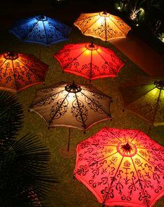 tall colorful umbrellas