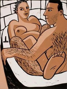 Nige gets in my Bath / linocut / edition 50 / size: m-l / £420