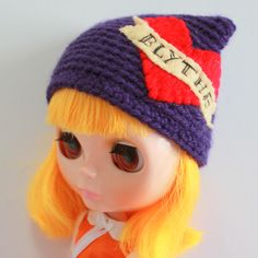 Deep Purple Tattoo Cat Ear Beanie - A Crochet Blythe Doll Hat for Kenner and Neo - Blythe Hat  - Blythe Clothes - Eriko's Emporium by ErikosEmporium on Etsy - £6.00