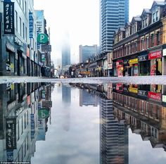 Gutierrez Ruiz captures stunning images of grand buildings and urban streets from their reflections in puddles #art