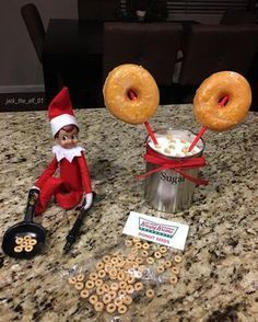 "Day 6:Just plant some ""donuts seeds"" overnight and baaaam you'll be able to grow some fresh donuts ready for breakfast! #krispykremedoughnuts #elfontheshelf #elfontheshelfideas #elfontheshelf2017 #jacktheelfadventures"