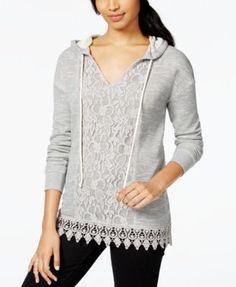 Ultra Flirt Juniors' Lace-Front Crochet-Hem Hoodie