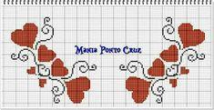 Dinha Ponto Cruz: Arabescos em ponto cruz Tiny Cross Stitch, Cross Stitch Charts, Cross Stitches, Hearts, Cross Stitch Fairy, Butterfly Cross Stitch, Cross Stitch Designs, Border Tiles, Cross Stitch Heart