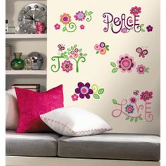 New LOVE JOY PEACE WALL DECALS Flowers Stickers Girls Deco Flower Bedroom Decor  12.40