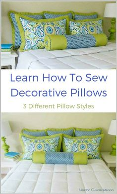 Learn how to sew decorative pillows. 3 patterns included and the video tutorials show you every step of the way. Lots of great sewing tips to get the best results. (affiliate) #sewingtutorial #videotutorial #diypillows #sewingprojects