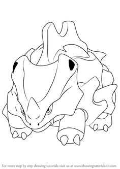 Rhyhorn is a cloned character from Pokemon. Pikachu Drawing, Pokemon Sketch, Pokemon Gif, Pokemon Party, Easy Pokemon, Cars Coloring Pages, Mandala Coloring Pages, Coloring Pages For Kids, Pokemon Coloring Sheets