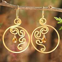 Gold Circle squiggle earrings - wire work