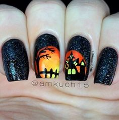 Halloween nail art ideas. We love this one by @amkuch15! Shop fall nail colors at Duane Reade.